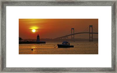 Newport Sunset Framed Print by Lou Ford