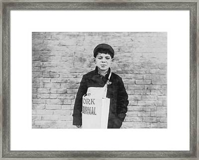 Newspaper Boy Framed Print by Aged Pixel