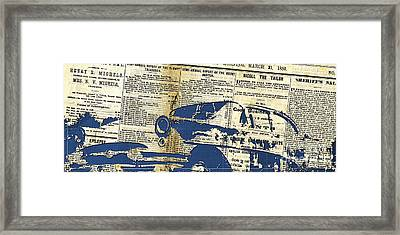 Landscape Newspaper Old Crashed Car Collage Framed Print by Pablo Franchi