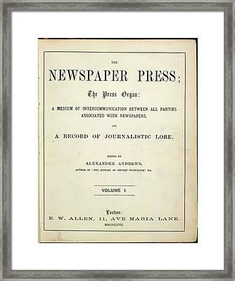 Newspaper Press Framed Print