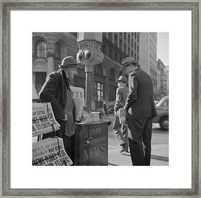 Newspaper Stand On Monday Morning, Dec Framed Print by Everett