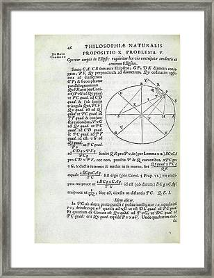 Newton On Elliptical Motion Framed Print by Royal Institution Of Great Britain