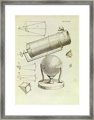 Newton On Telescopes Framed Print by Middle Temple Library