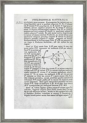Newton On The Three-body Problem Framed Print