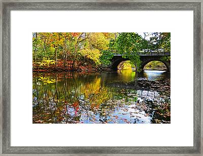Newton Upper Falls Autumn Foliage Framed Print by Toby McGuire