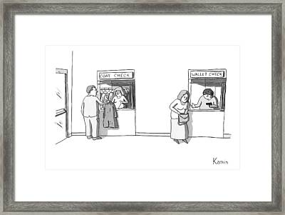 Next To A Regular Coat Check Is A Station Called Framed Print by Zachary Kanin
