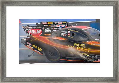 Nhra Female Driver Framed Print by Beverly Guilliams
