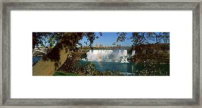 Niagara Falls And Rainbow, New York Framed Print by Panoramic Images