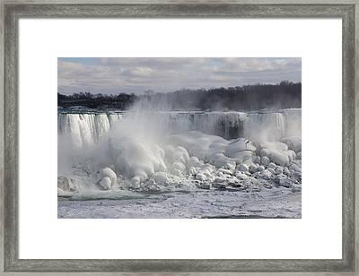 Niagara Falls Awesome Ice Buildup - American Falls New York State Usa Framed Print by Georgia Mizuleva