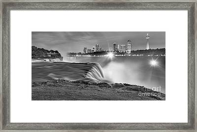 Niagara Falls Black And White Starbursts Framed Print