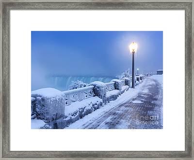 Niagara Falls City Wintertime Scenery Framed Print