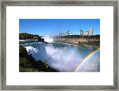Framed Print featuring the photograph Niagara Falls Double Rainbow by Jemmy Archer