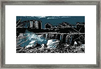 Niagara Falls Frozen At Night Framed Print by Miss Dawn