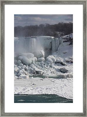 Niagara Falls Ice Buildup - American Falls New York State U S A Framed Print