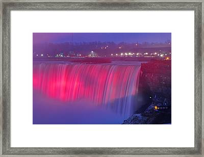 Niagara Falls Pretty In Pink Lights. Framed Print