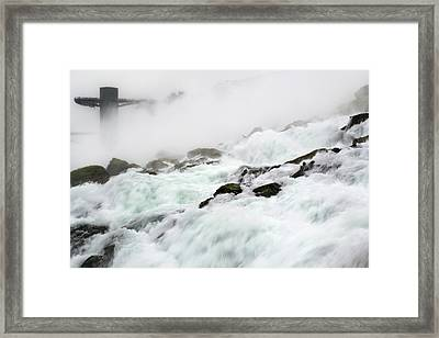 Niagara Falls With Observation Tower Behind Framed Print