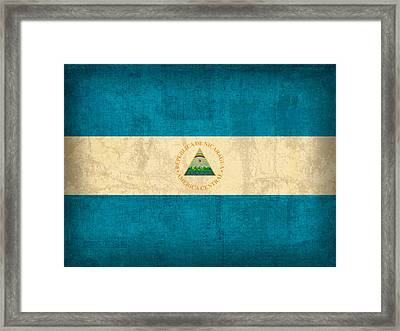 Nicaragua Flag Vintage Distressed Finish Framed Print by Design Turnpike