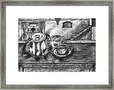 Framed Print featuring the drawing Nice Cup Of Tea by Teresa White