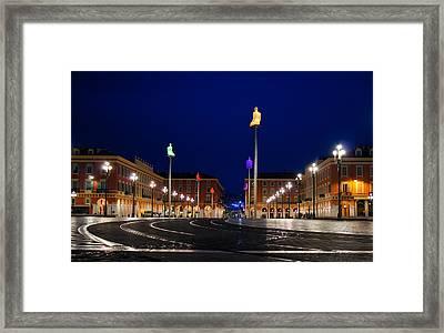 Framed Print featuring the photograph Nice France - Place Massena Blue Hour  by Georgia Mizuleva