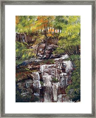 Nice Waterfall In The Forest Framed Print