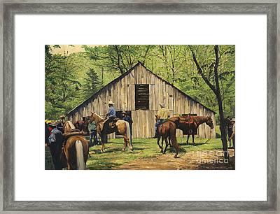 Nichol's Barn Framed Print by Don  Langeneckert