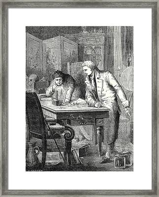 Nicholson And Carlisle Decompose Water Through The Battery Framed Print by English School