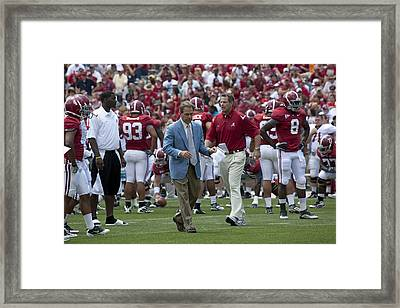 Nick Saban And The Tide Framed Print
