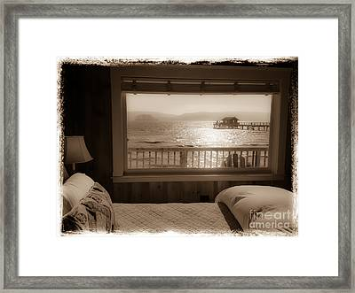 Dreamy Waterfront Cottage Framed Print by Amy Fearn