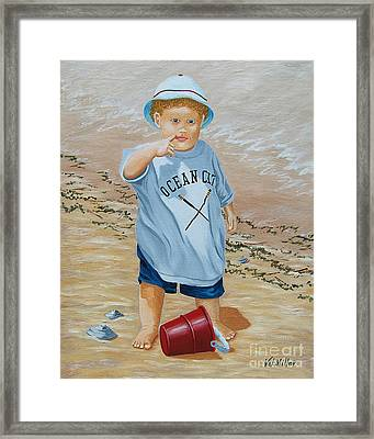 Nicks Red Bucket Framed Print by Val Miller