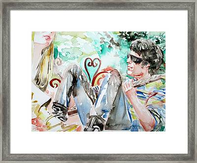 Nico And Lou Reed Watercolor Portrait Framed Print by Fabrizio Cassetta