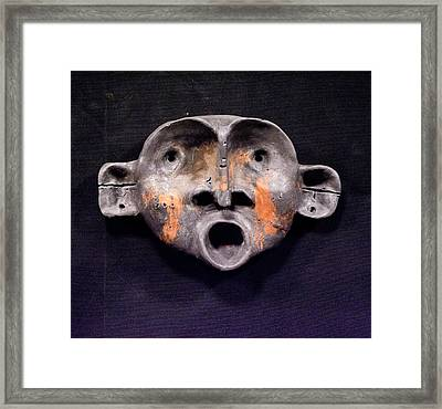 Nico Black And Orange Mask Framed Print by Mark M  Mellon