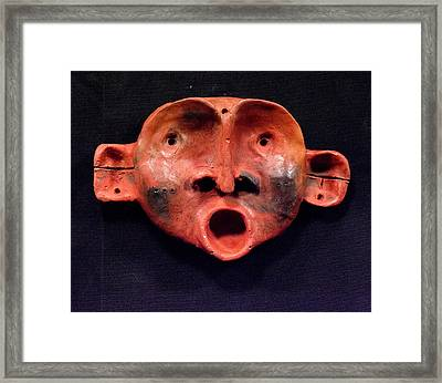Nico Red Orange And Black Mask Framed Print by Mark M  Mellon