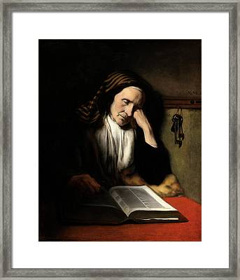 Nicolaes Maes Dutch, 1634 - 1693, An Old Woman Dozing Framed Print by Quint Lox