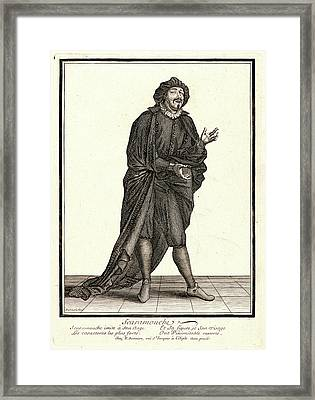 Nicolas Bonnart French, 1636 - 1718. Scaramouche Framed Print by Litz Collection