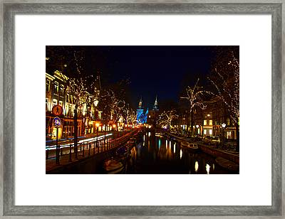 Nieuwe Spieglestraat At Night Framed Print