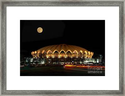 night and moon WVU basketball arena Framed Print by Dan Friend