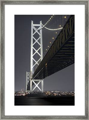 Night At Akashi Kaikyo Bridge Framed Print