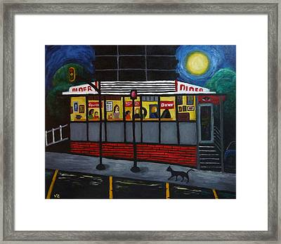Night At An Arlington Diner Framed Print by Victoria Lakes