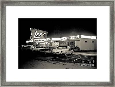 Night At Lee's Steak House Framed Print by Merle Junk