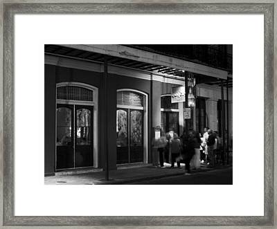 Night At Muriel's Jackson Square In Black And White Framed Print by Greg and Chrystal Mimbs
