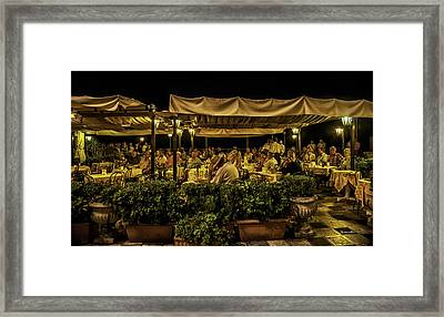 Night At The Cafe - Taormina - Italy Framed Print by Madeline Ellis