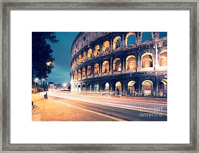 Night At The Colosseum Framed Print