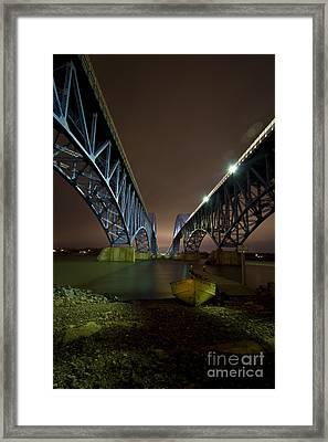 Night At The Grand Island Bridge Framed Print