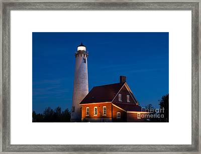 Night At The Lighthouse Framed Print