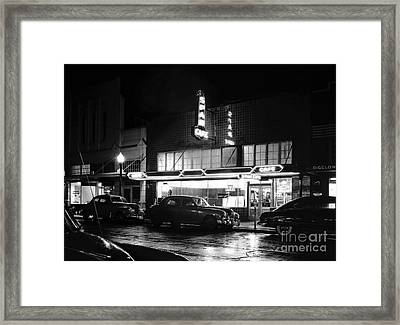 Night At The Spar Cafe At Night 1950 Framed Print by Merle Junk
