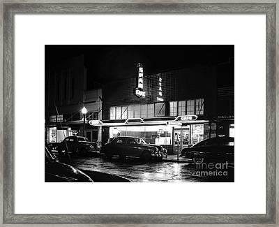 Night At The Spar Cafe At Night 1950 Framed Print