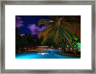 Night At Tropical Resort Framed Print by Jenny Rainbow