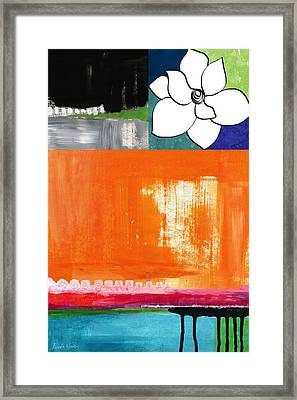 Night Bloom- Colorful Abstract Art Framed Print by Linda Woods