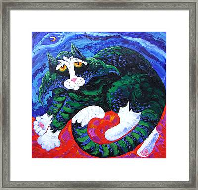 Night Cat Framed Print by Isabelle Gervais
