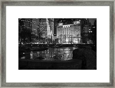 Night Central Park Lake H Framed Print